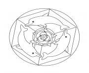 mandala de dauphin dessin à colorier