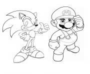 Coloriage Sonic Mario Dessin