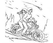 peter parker en moto avec sa copine dessin à colorier