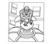 spiderman sur le toit d'un édifice dessin à colorier