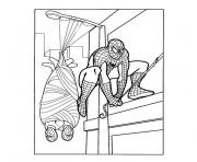 Coloriage spiderman a capturé les deux ennemis