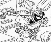 spiderman brise les débris en bois  dessin à colorier