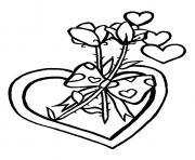 Coloriage st valentin Bart et Lisa portent Maggie sur un coeur dessin