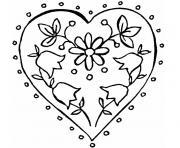 coeur et fleur dessin à colorier