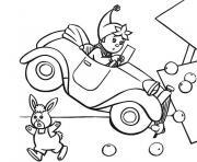 oui oui en voiture dessin à colorier