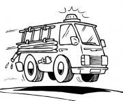 voiture de pompier dessin à colorier