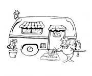 voiture et caravane dessin à colorier