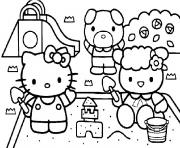 Coloriage hello kitty ses amis hello kitty