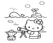 Coloriage hello kitty a la plage