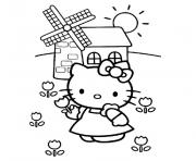Coloriage hello kitty en robe