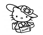 Coloriage hello kitty en vacance