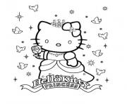 hello kitty en princesse dessin à colorier