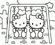 hello kitty et mimi dessin à colorier
