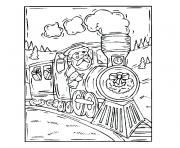 Coloriage noel train
