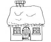 de noel maison dessin à colorier