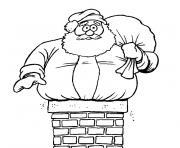 pere noel cheminee dessin à colorier