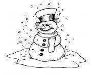 de noel bonhomme de neige dessin à colorier