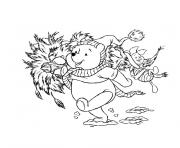 noel winnie l ourson dessin à colorier