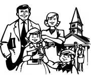 noel en famille dessin à colorier