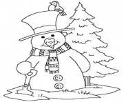 noel bonhomme de neige facile dessin à colorier