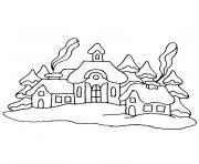 noel paysage dessin à colorier
