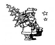 Coloriage sapin et pere noel