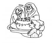 creche noel jesus famille bebe dessin à colorier
