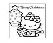 de noel hello kitty dessin à colorier
