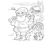 pere noel et sa hotte dessin à colorier