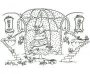 arbre de noel dans verriere dessin à colorier