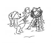 de noel winnie l ourson dessin à colorier