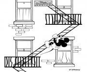 Mickey dans les escaliers de secours dessin à colorier
