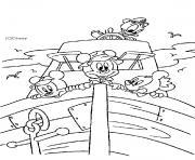 Mickey et son ami Donald sur un bateau dessin à colorier