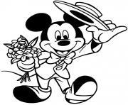 Mickey va a un rendez vous galant dessin à colorier