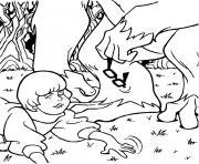 Vera avec un monstre dessin à colorier