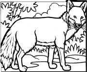 renard dans la foret dessin à colorier