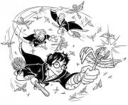 Coloriage harry potter jouant au quidditch