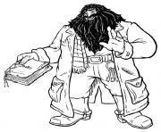 Hagrid avec un livre de photos dessin à colorier