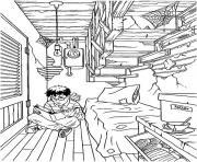 Harry Potter dans sa petite chambre dessin à colorier
