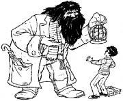 Hagrid donne la chouette Hedwige a Harry Potter dessin à colorier
