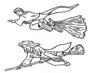 Hermione et Ron sur leurs balai magique dessin à colorier