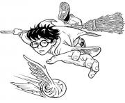 Coloriage quidditch harry balai magique volant