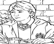 Ron Weasley a la cantine de Poudlard dessin à colorier