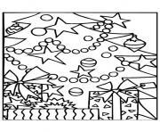 sapin de noel cadeaux dessin à colorier