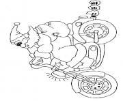 pere noel sur une moto dessin à colorier