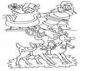 pere noel traineau rennes dessin à colorier