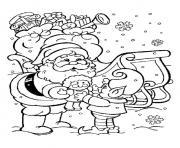 pere noel avec elfe dessin à colorier