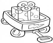 cadeau dans un trainneau noel dessin à colorier