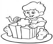 la joie ouvrir cadeau noel dessin à colorier