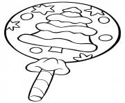 sucette bonbon de noel dessin à colorier